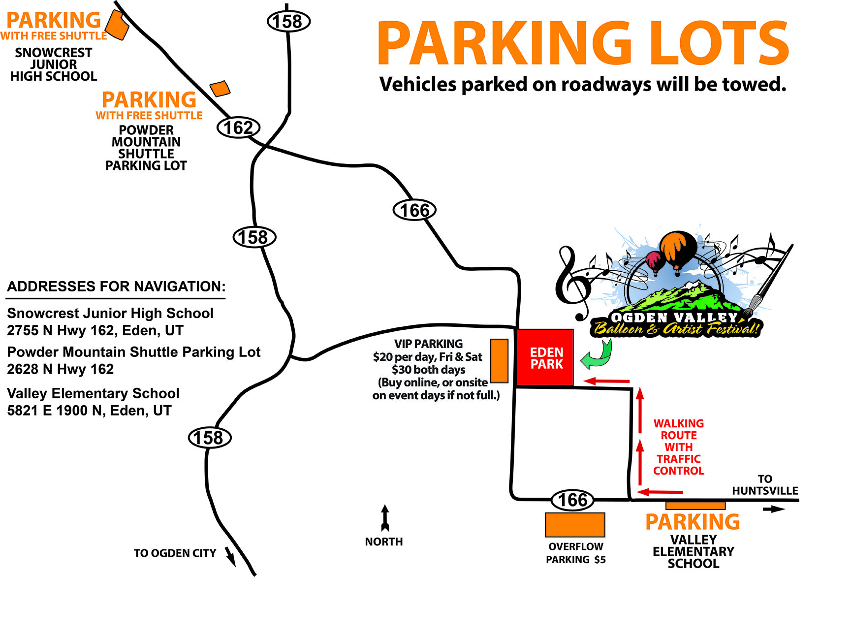 Ogden Valley Balloon Fest Parking Lots